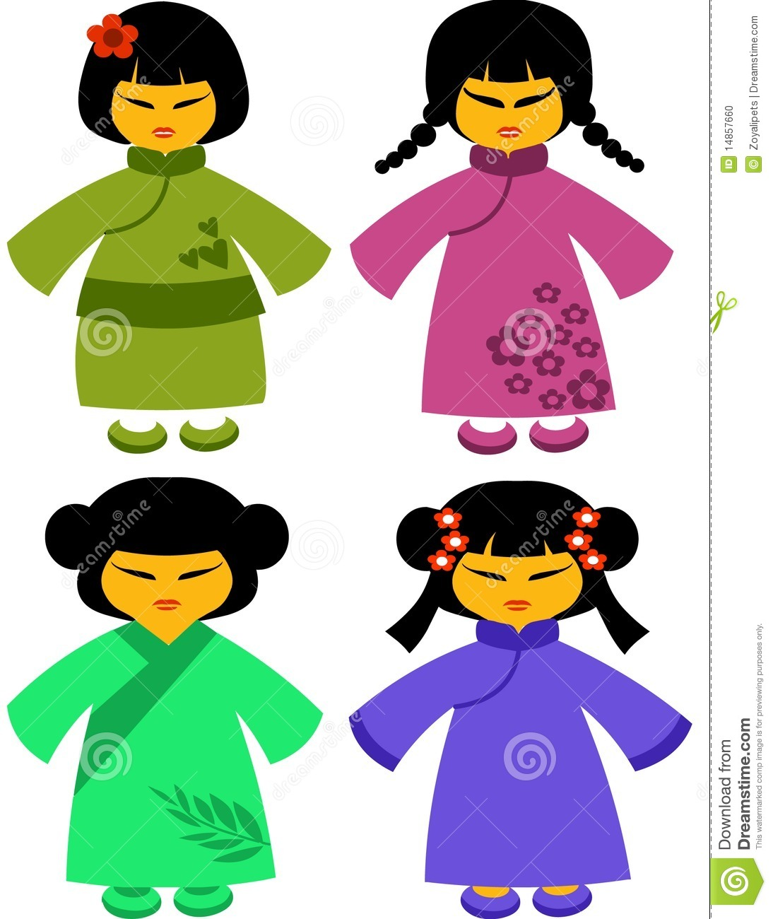 Icons of japanese dolls in traditional dresses -2