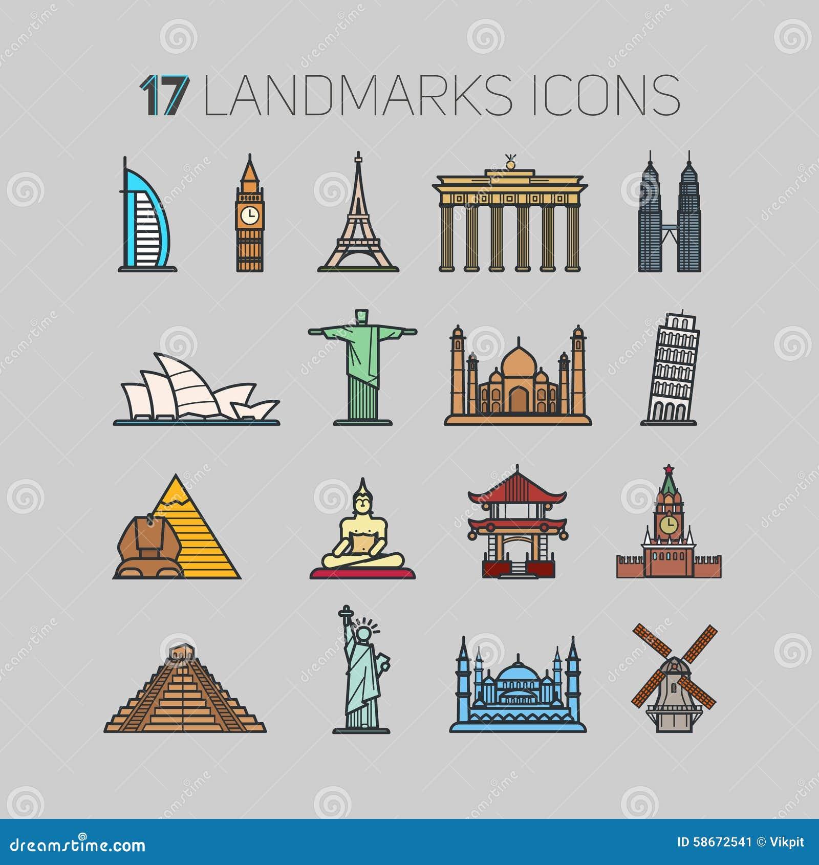 World famous landmarks line design icons set cartoon for Landmark design