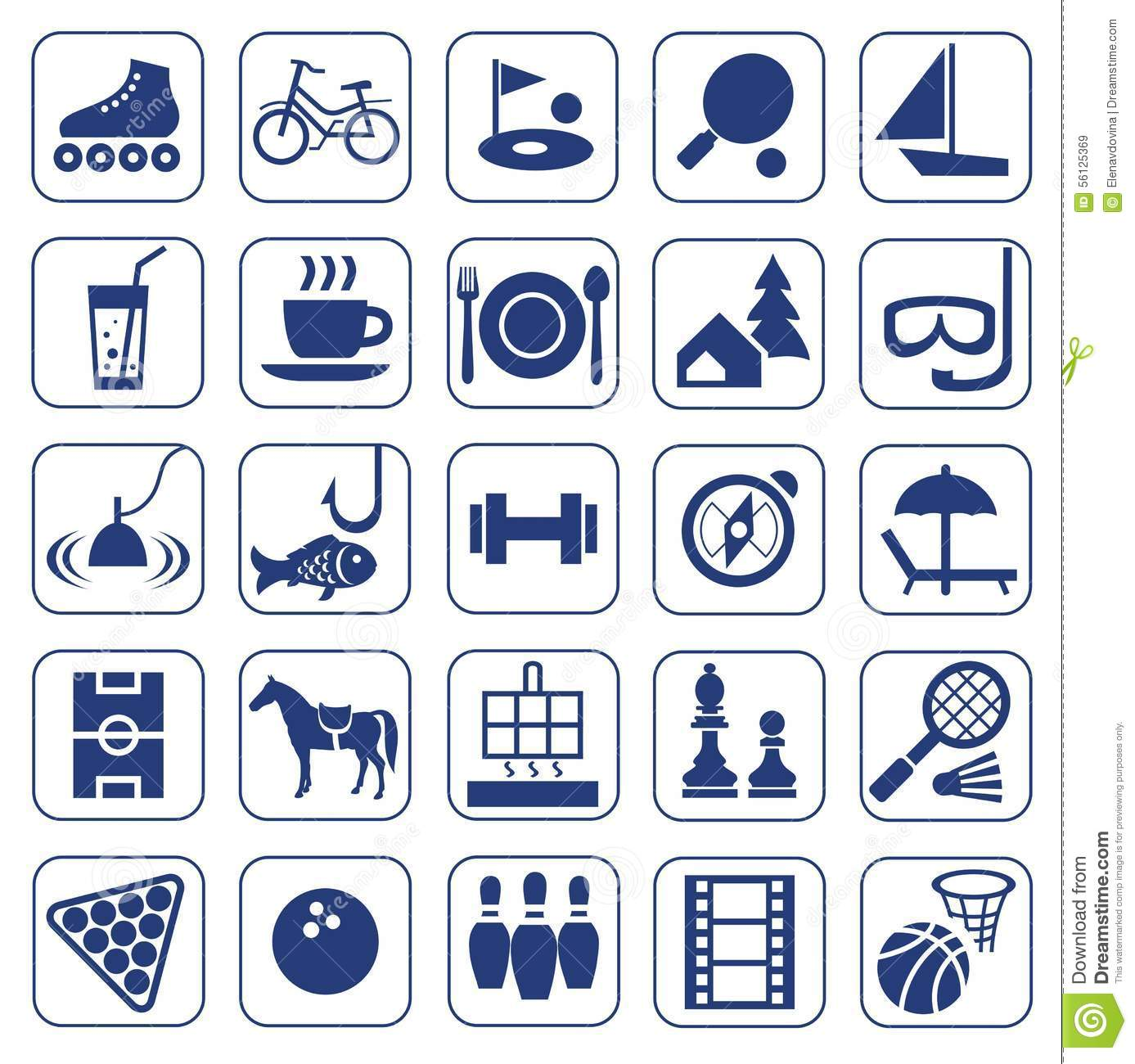 Icons, leisure, entertainment, leisure, Hobbies, monochrome, flat.