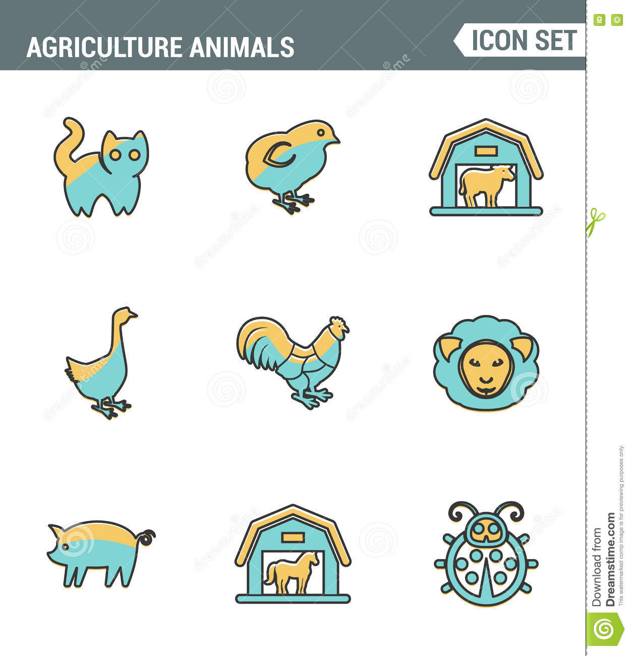 Download Icons Line Set Premium Quality Of Agriculture Animals Barn Farming Animal Farm Icon Modern