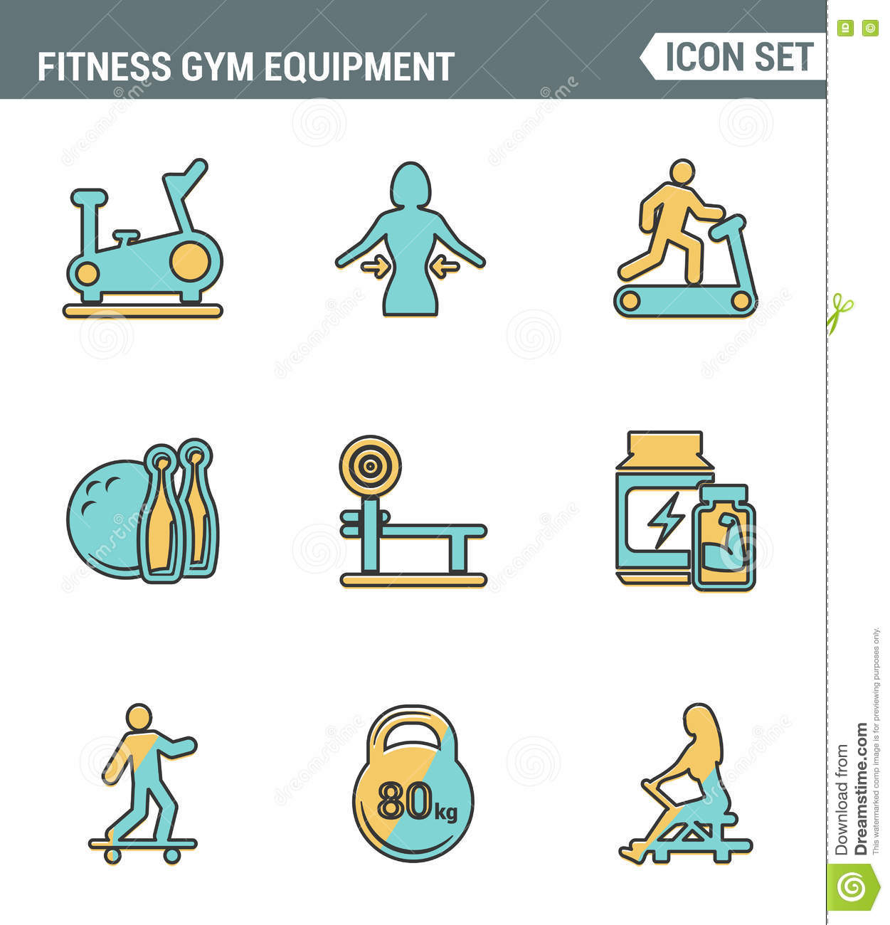 Icons line set premium quality of fitness gym equipment, sports recreation activity. Modern pictogram collection flat design