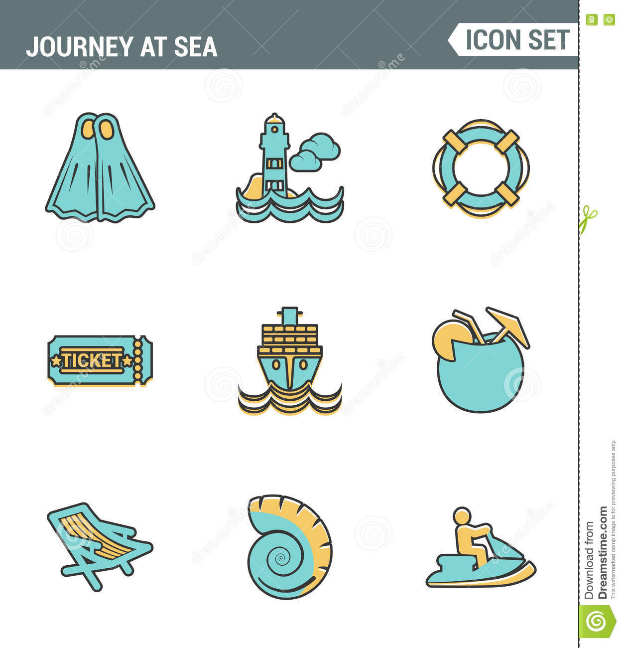 4376970e3c73c Icons line set premium quality of journey at sea summer tropical vacation  diving . Modern pictogram collection flat design style symbol .