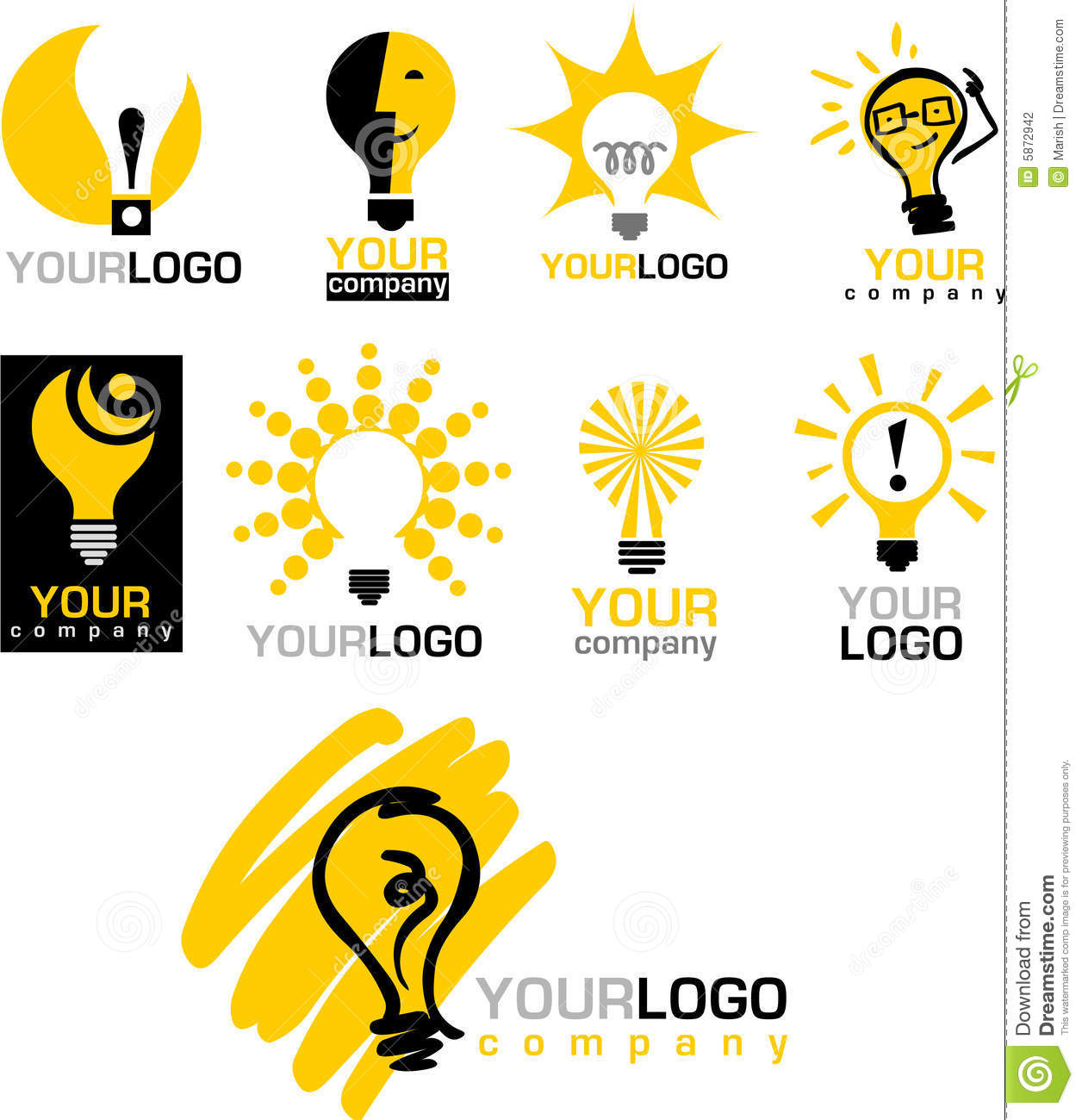 Icons and logos of light bulb