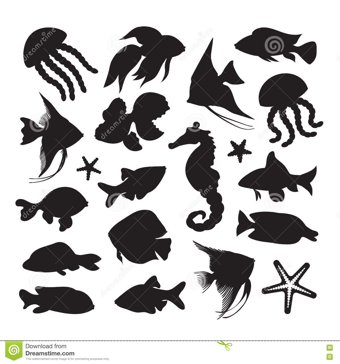 icons marine life stock vector illustration of nature 74668779