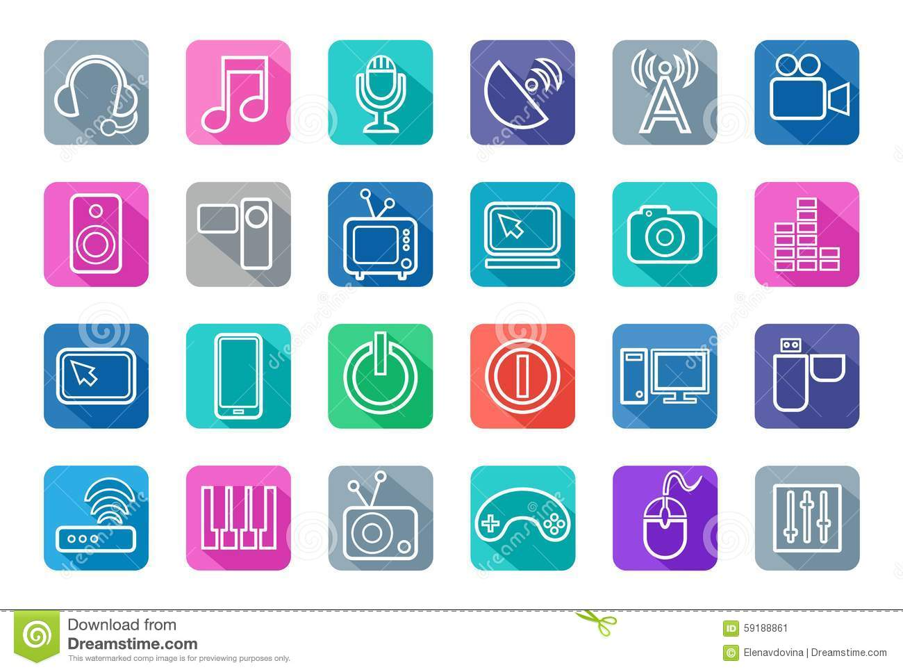 Icons Media, White Outline, Communication, Computer, Colored