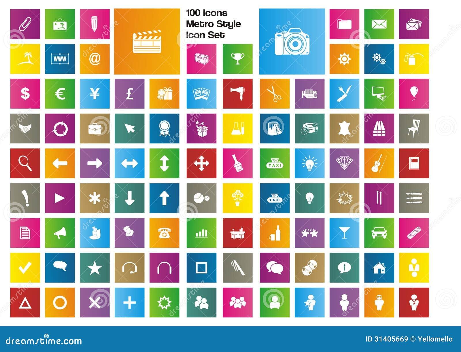 100 Icons Metro Style Icon Set Royalty Free Stock Images