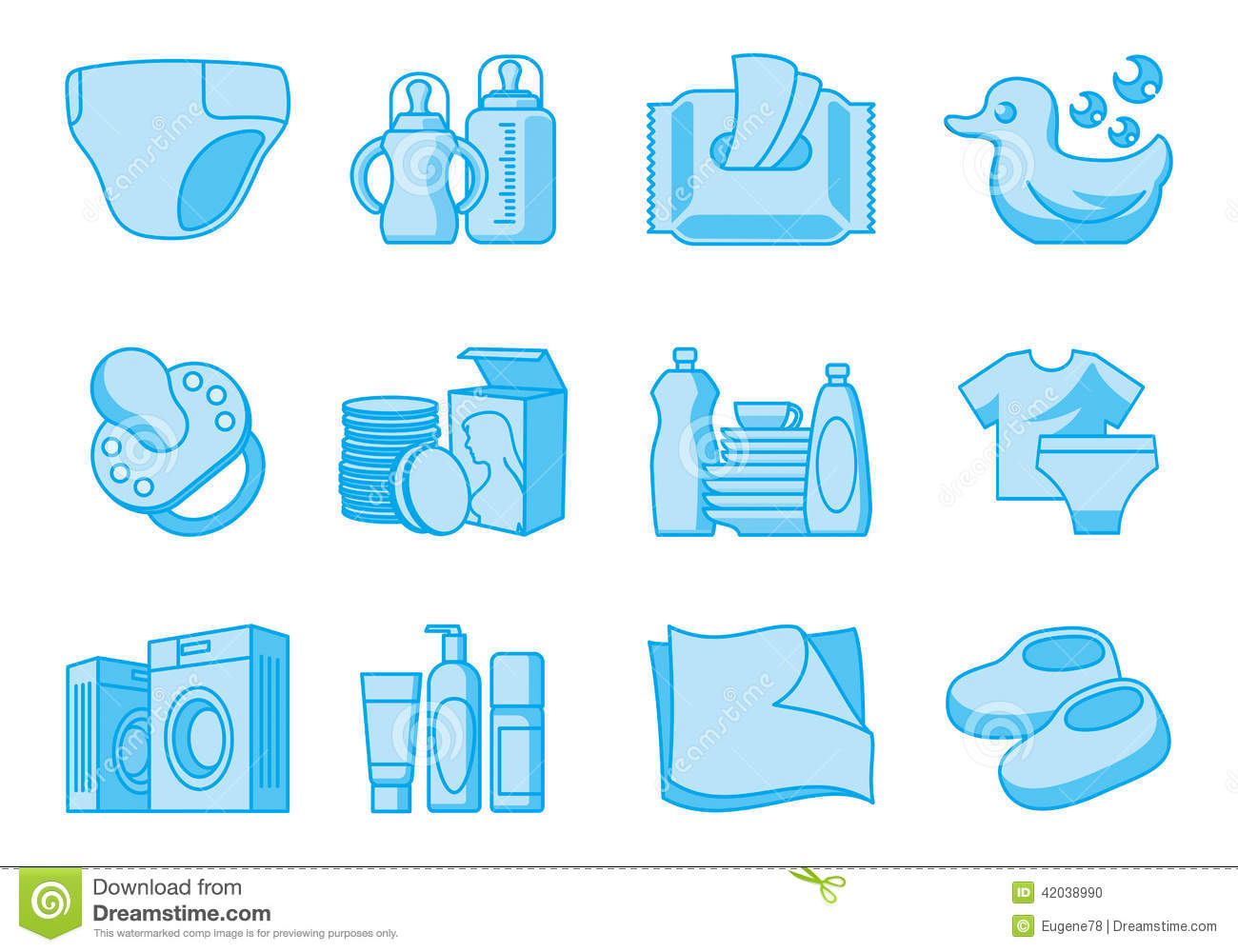 Icons For Newborn And Mother Supplies Stock Vector - Image: 42038990