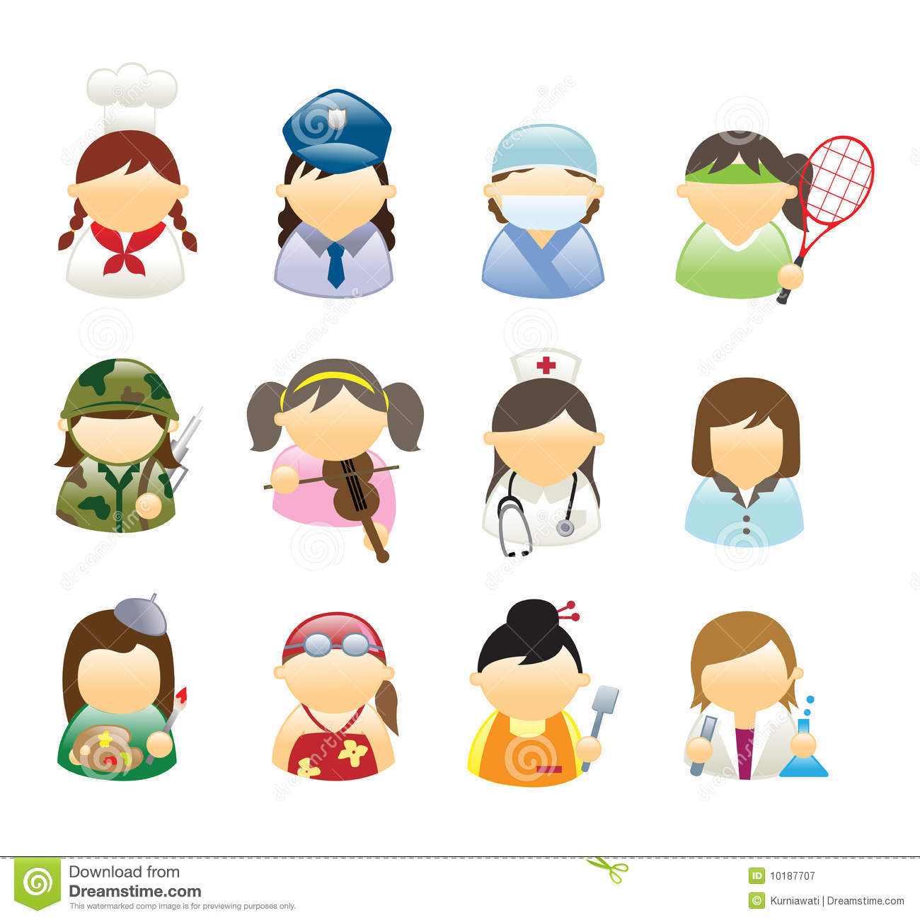 Icons Occupations Woman Royalty Free Stock Photography