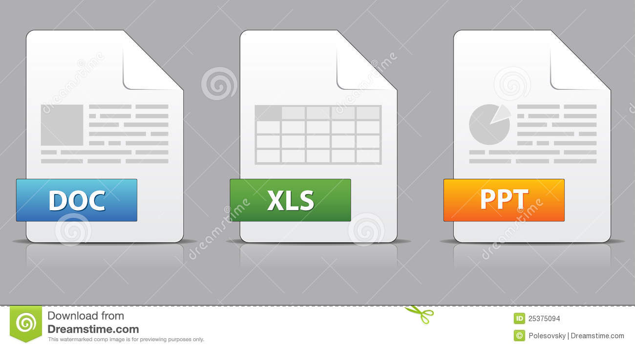 Icons For Office File Extensions Stock Images Image
