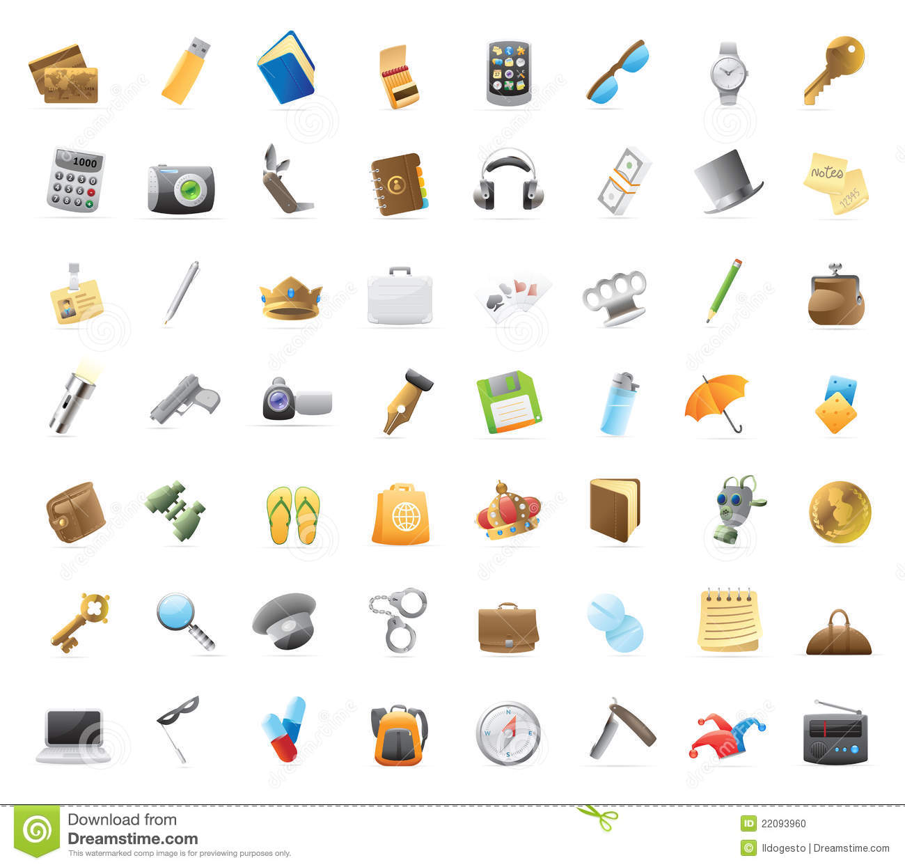 Personal belongings: 56 detailed vector icons for things you can carry ...