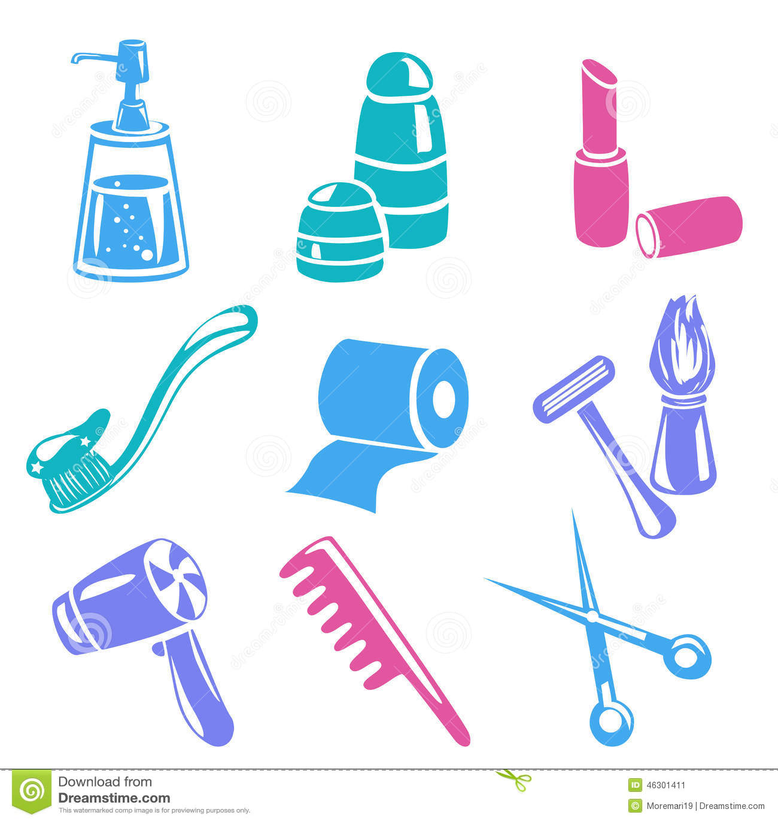 Set Of Vector Bathroom And Personal Hygiene Items Cartoon