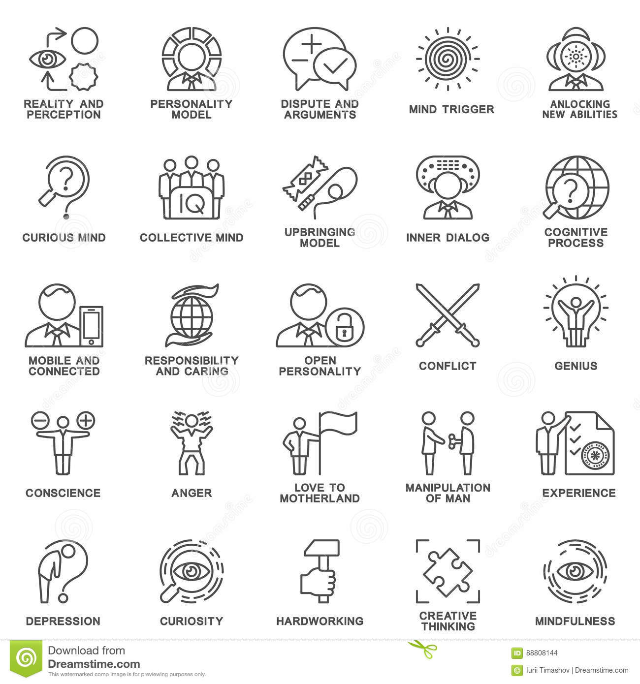 human psychology icons cartoon vector