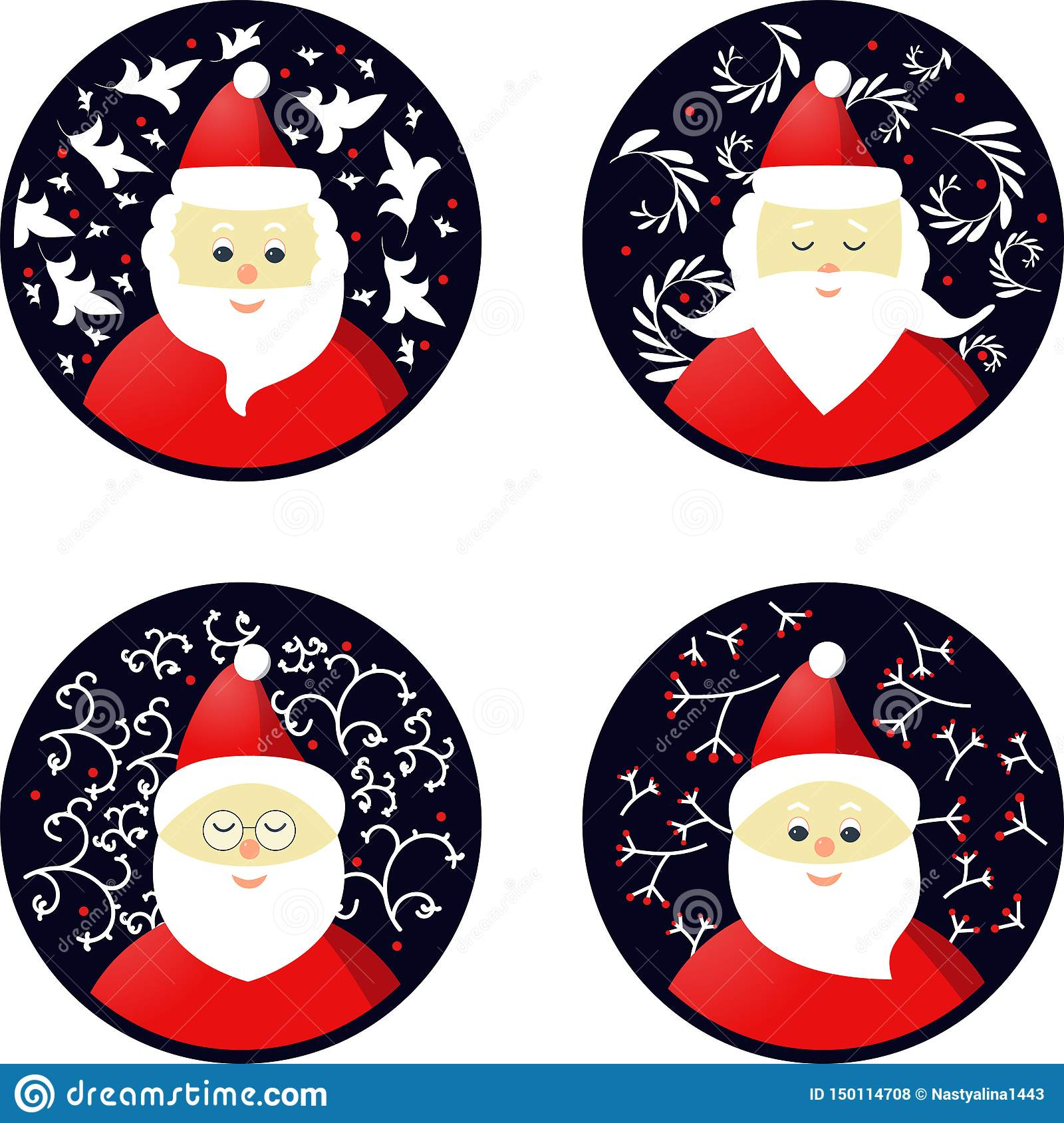 Icons of Santa Claus in the form Christmas toys.
