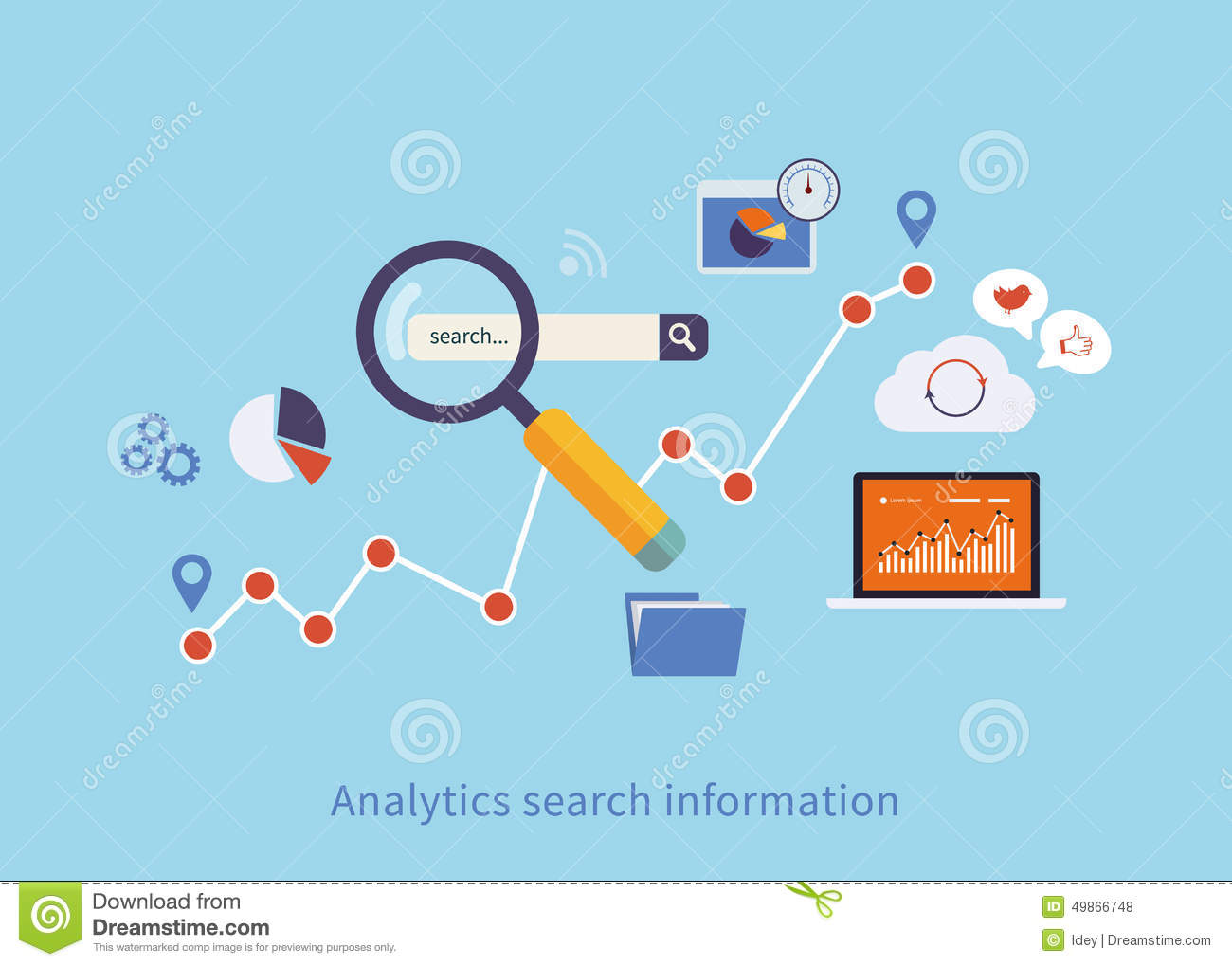 Icons Set Of Analytics Search Information Stock Vector