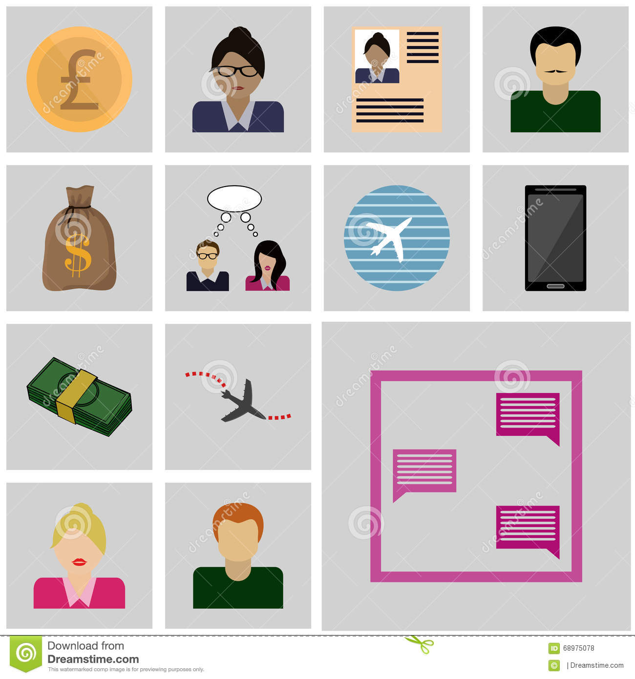 Icons set business/ Vector icon correspondence, message