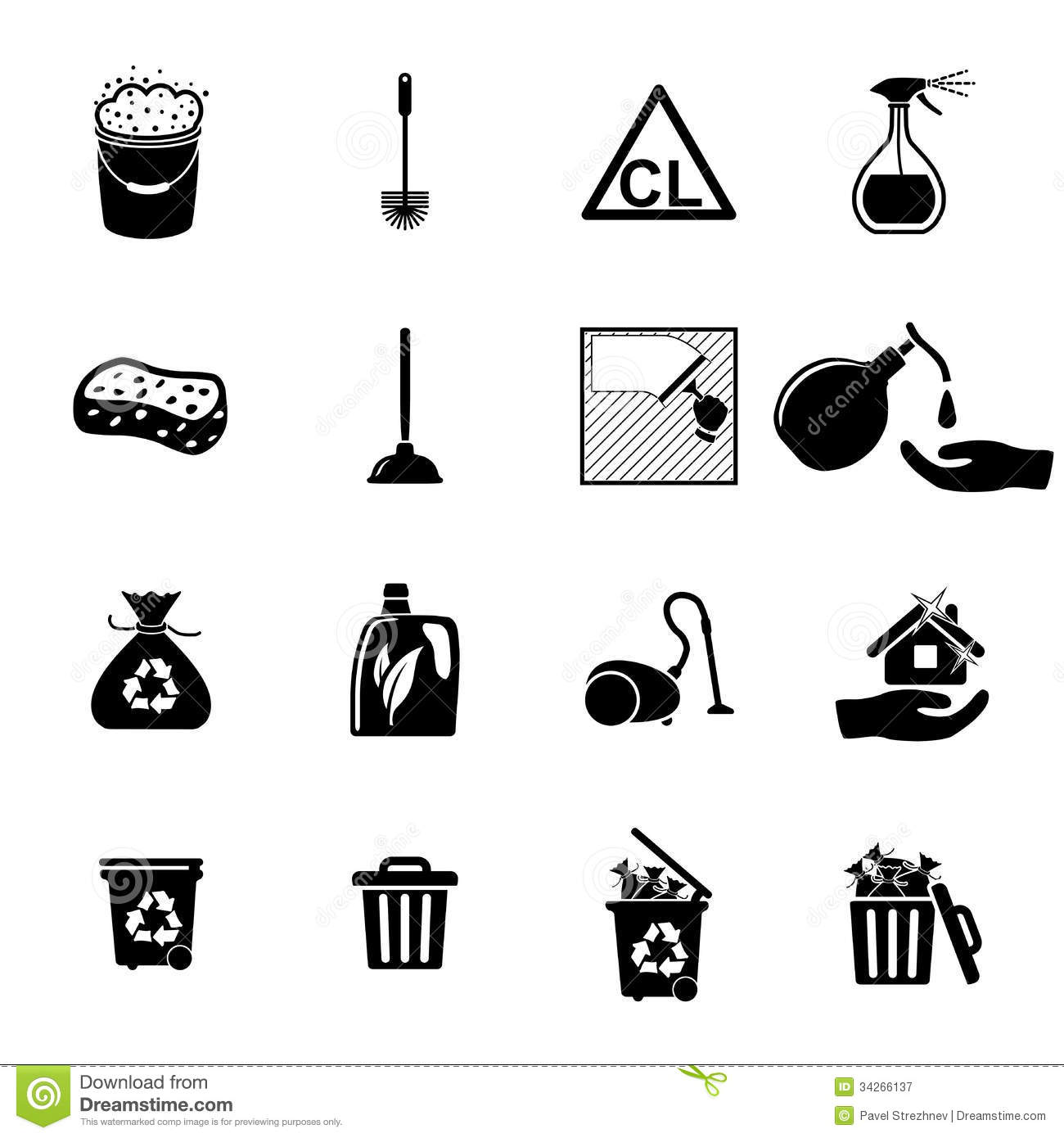 Icons Set Cleaning Stock Vector Image Of Dust
