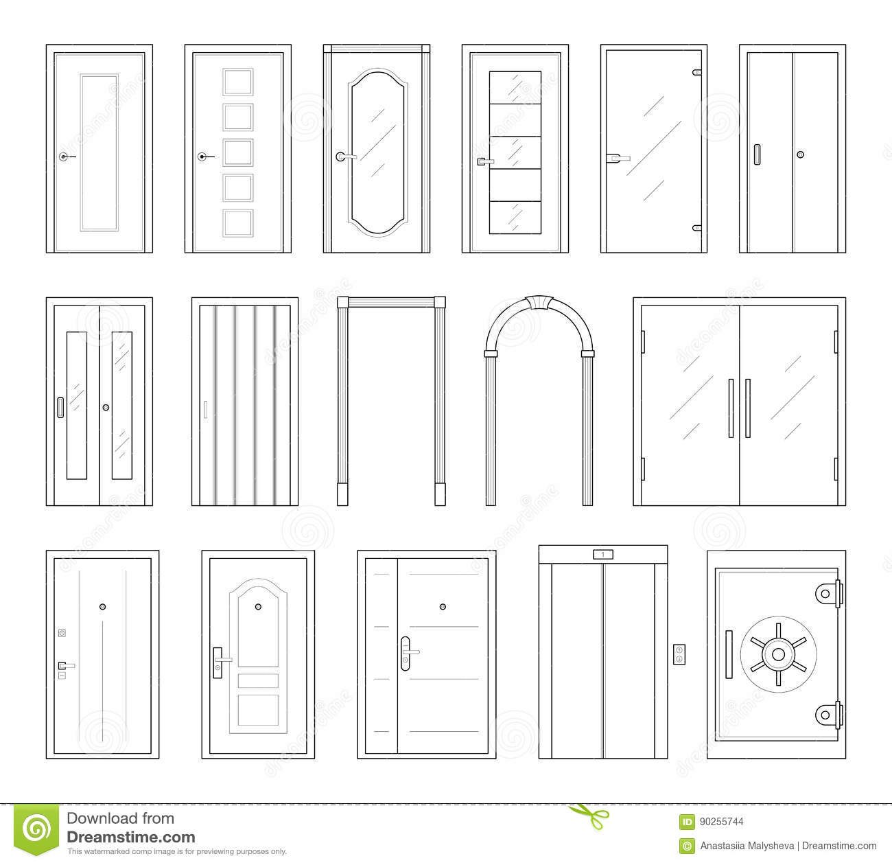 Icons Set Of Doors Types Stock Vector Illustration Of Design