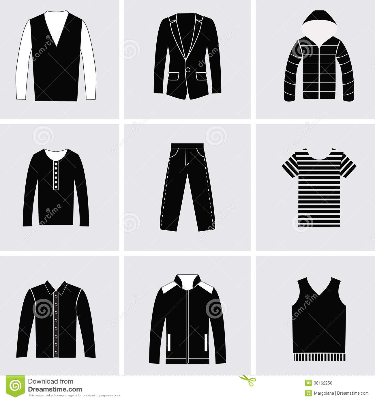 Icons Set Of Fashion Elements Men Clothes Stock Photo Image 38162250