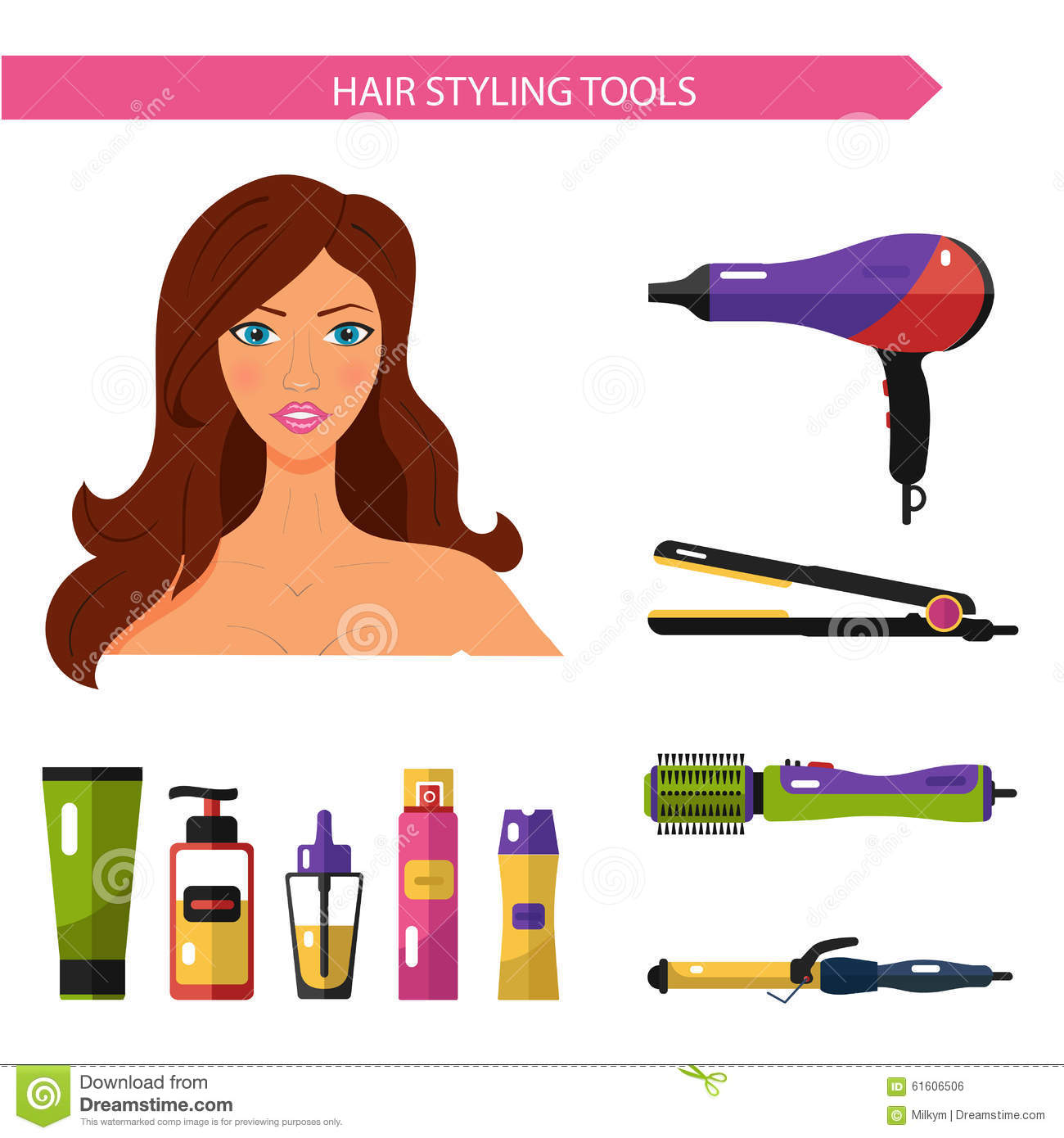 Hair styling set with straightener stock image for Hair salon tools