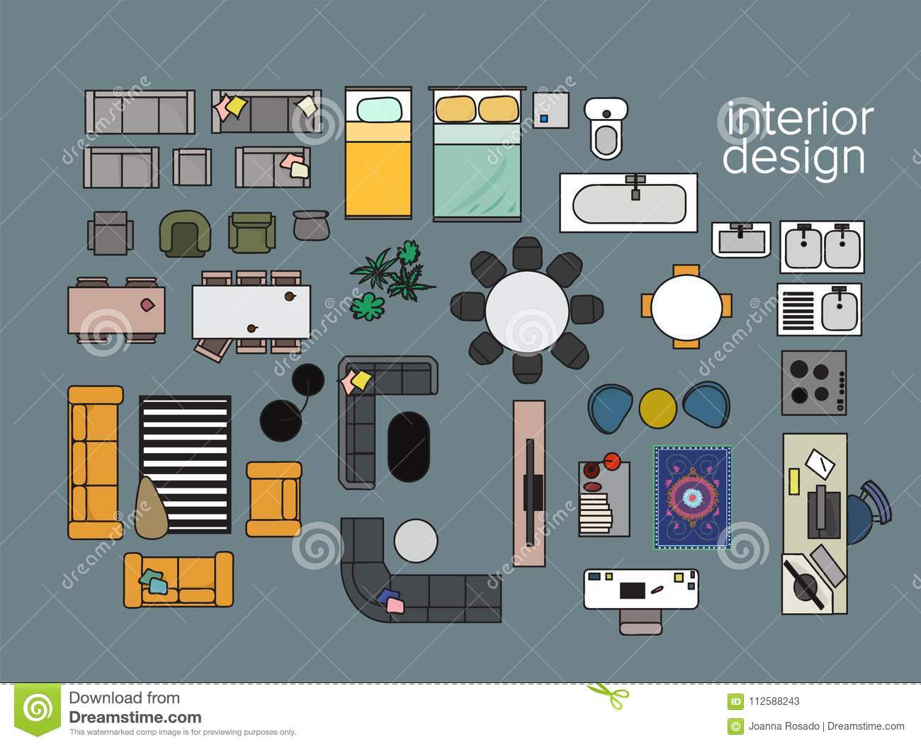 Vector Interior Design Floor Plan Home House Top View Collection Set Elements In Color Stock Vector Illustration Of Home Layout 112588243