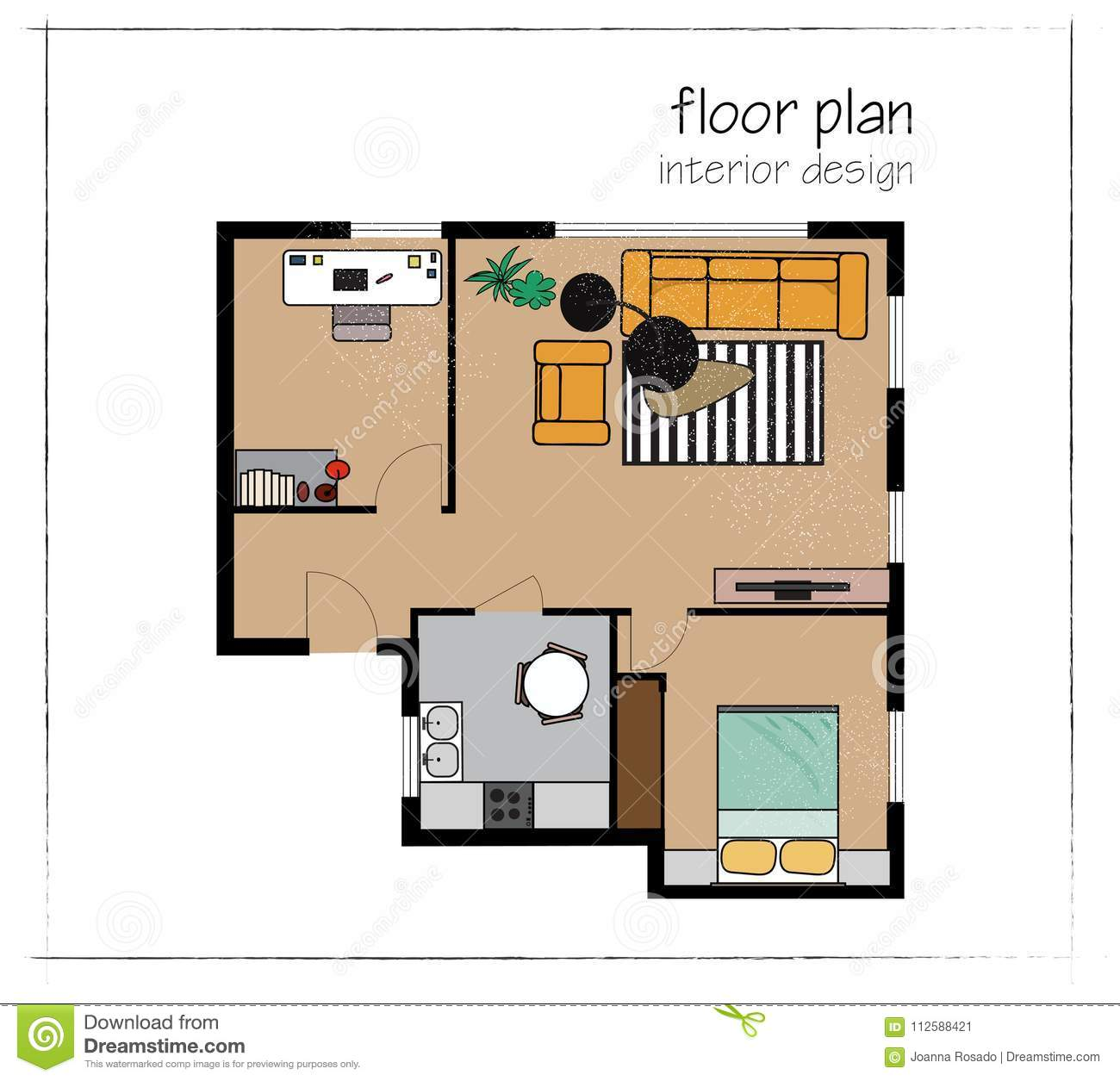 . Vector Interior Design Floor Plan  Home House Top View  Collection