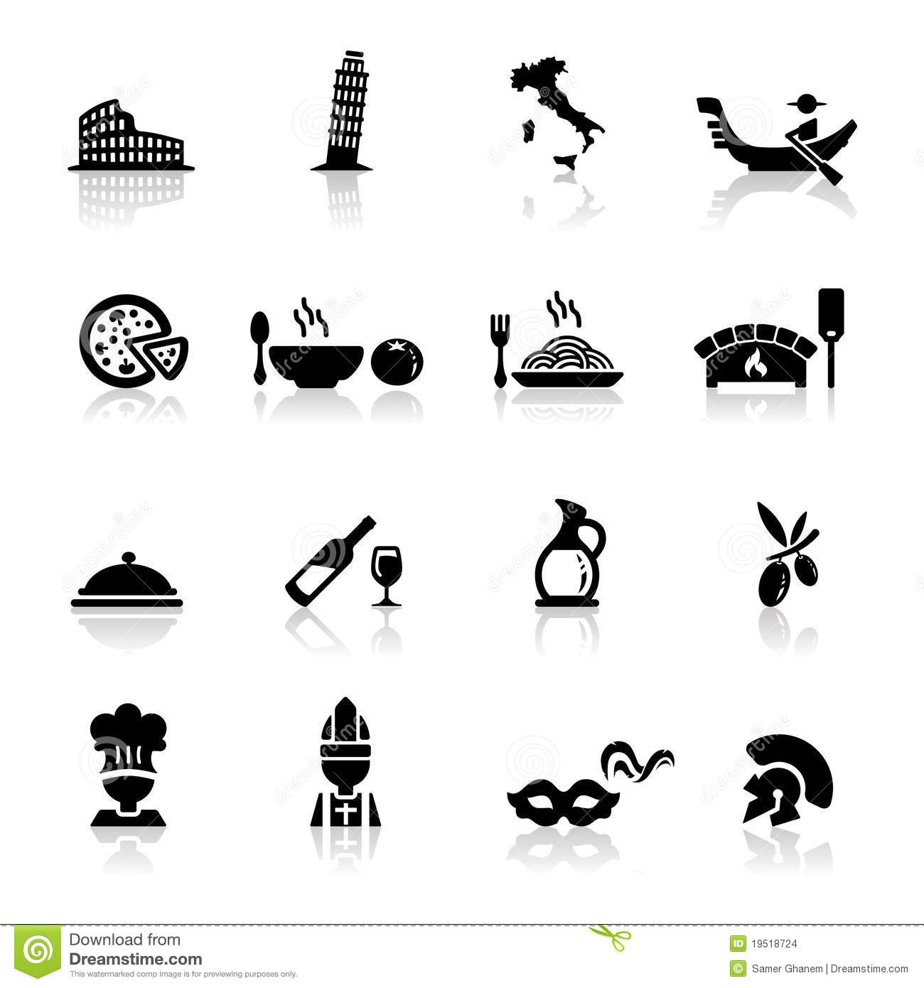 Icons Set Italian Cuisine And Culture Stock Vector Illustration Of
