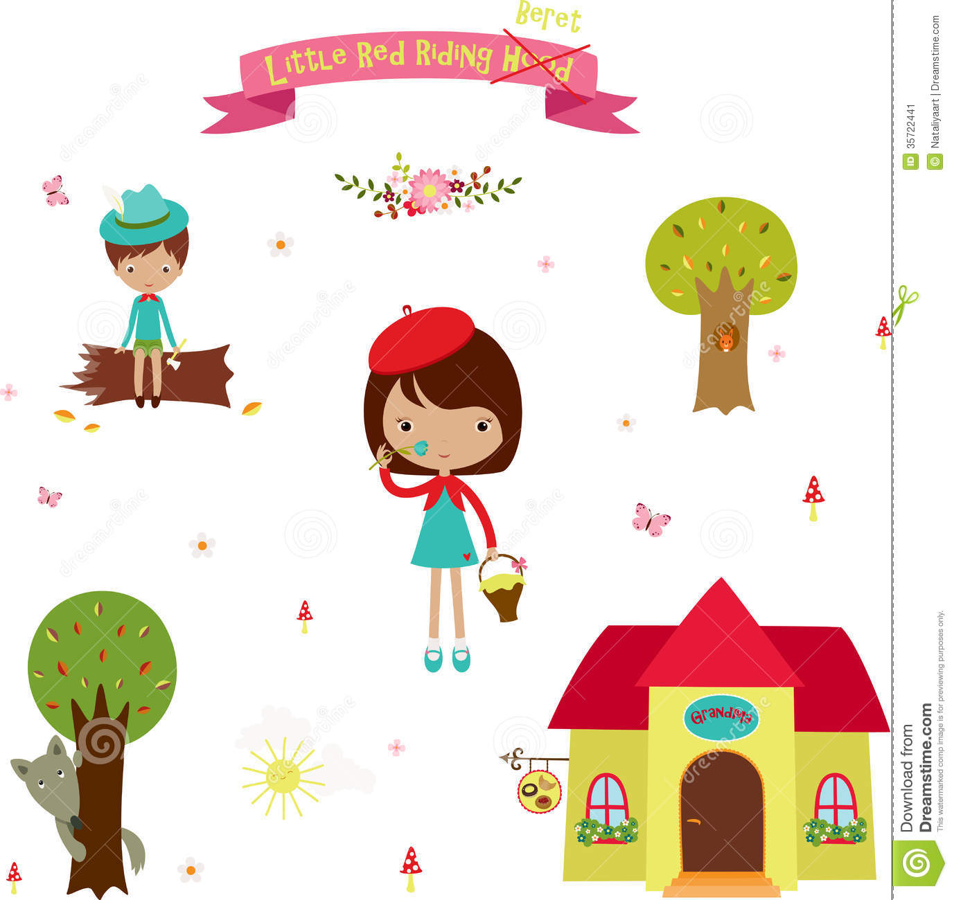 Icons Set Little Red Riding Hood Stock Vector Illustration Of
