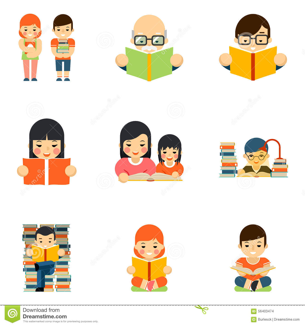 Icons Set Of People Reading Book In Flat Style Stock Vector