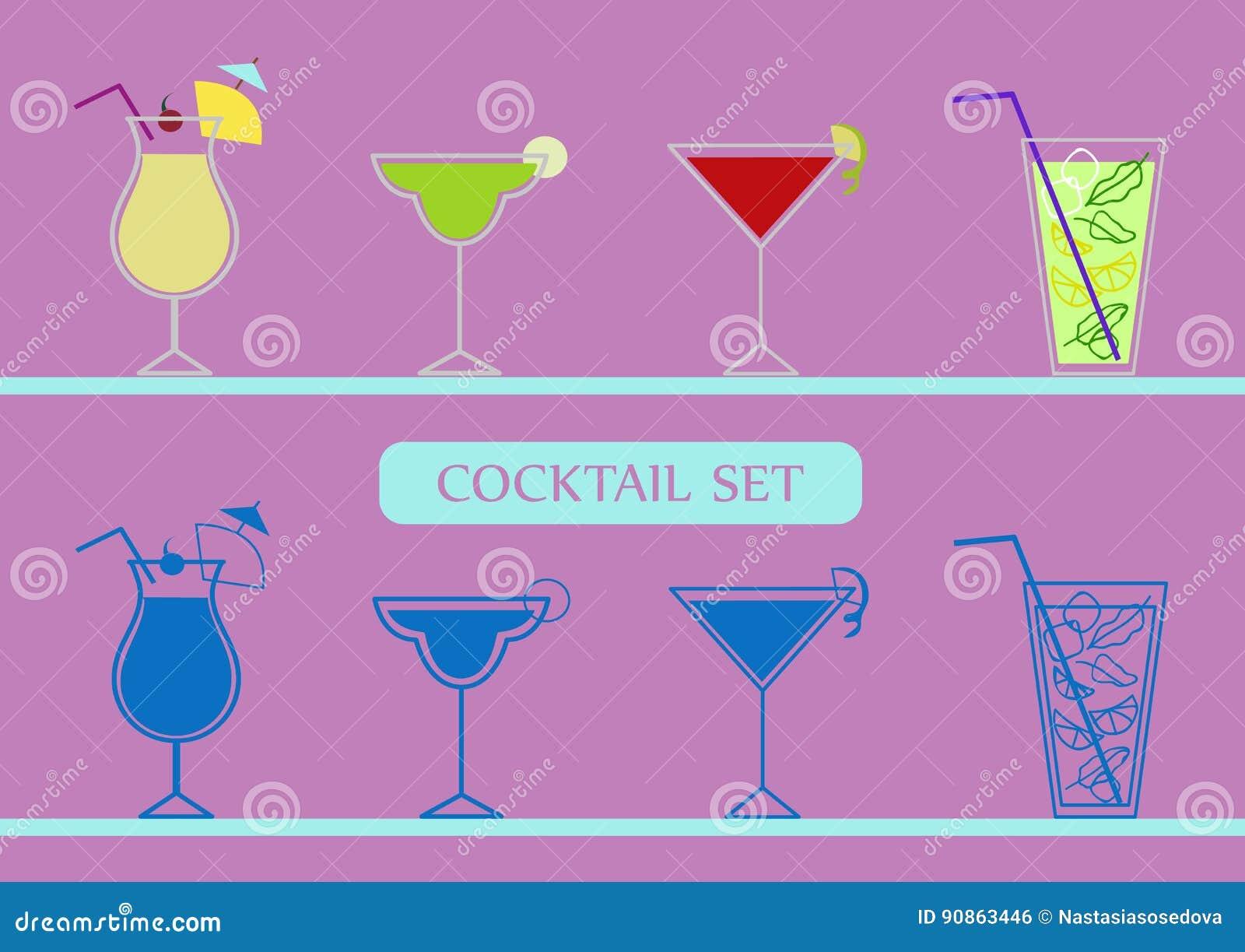 Icons set with pinacolada, margarita, cosmopolitan and mojito cocktails.