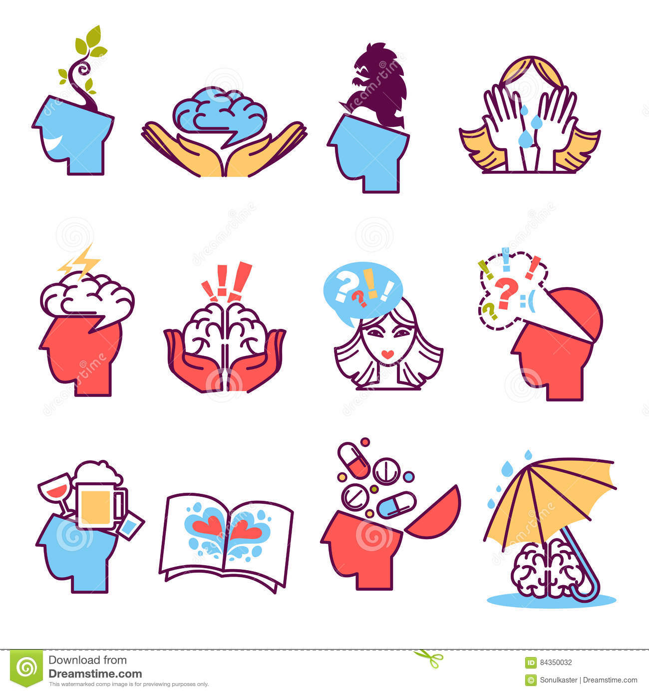 Icons Set Of Psychotherapy Psychology Stock Vector Illustration