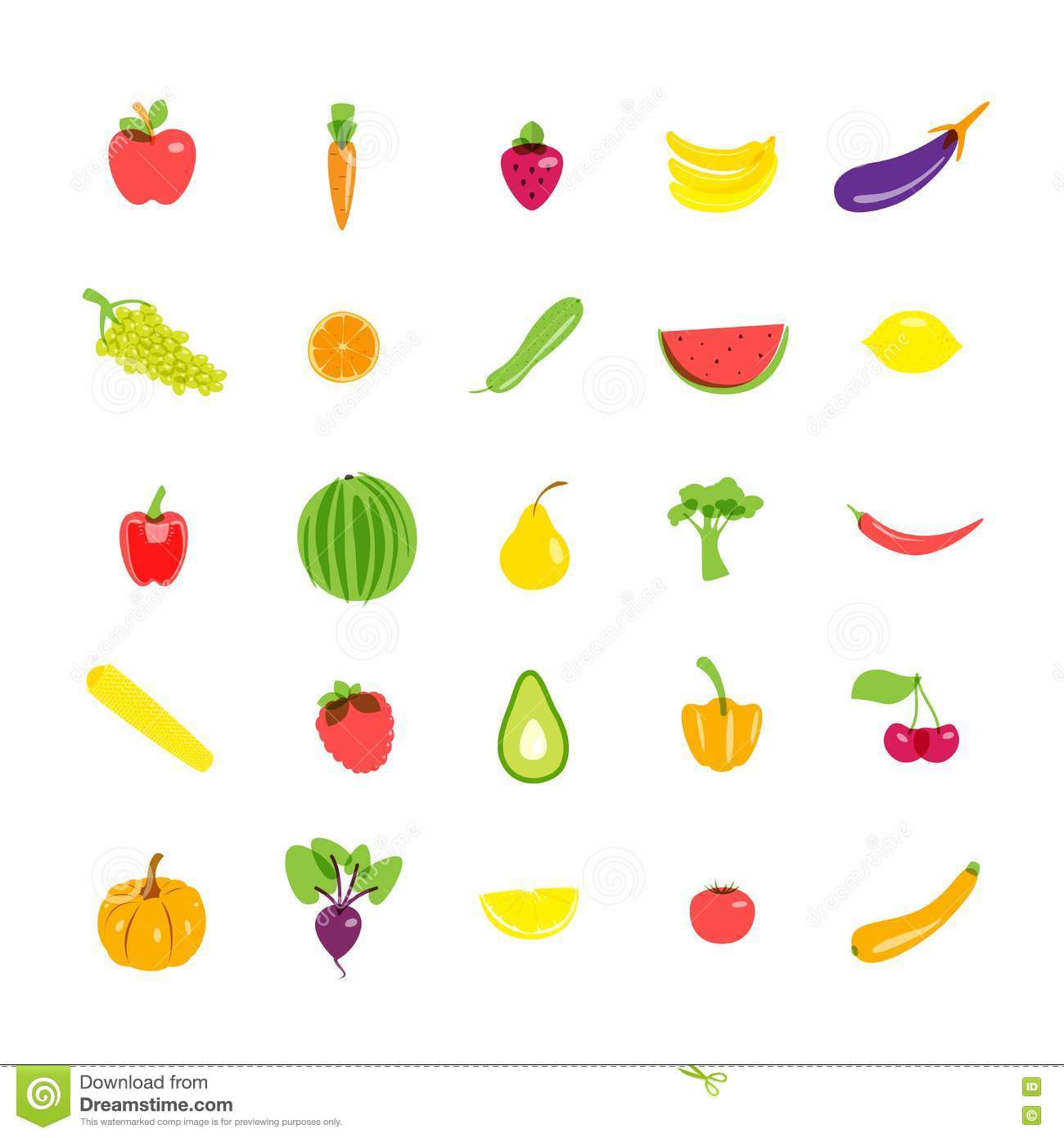 Icons set vegetarian products. Vector illustration.