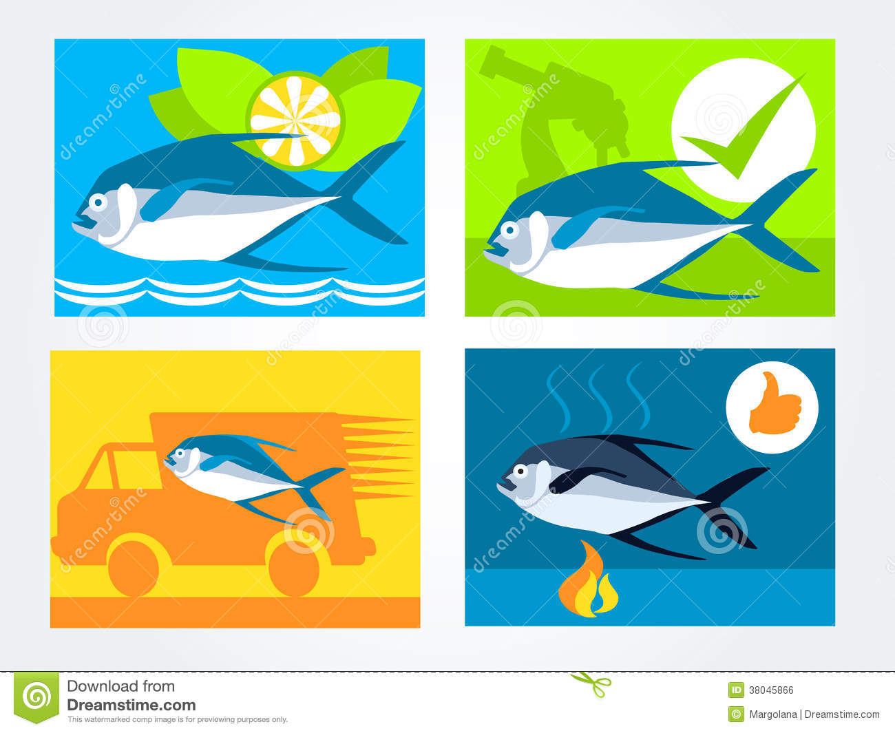 Icons set for the website fresh fish delivery sell royalty for Fresh fish delivery