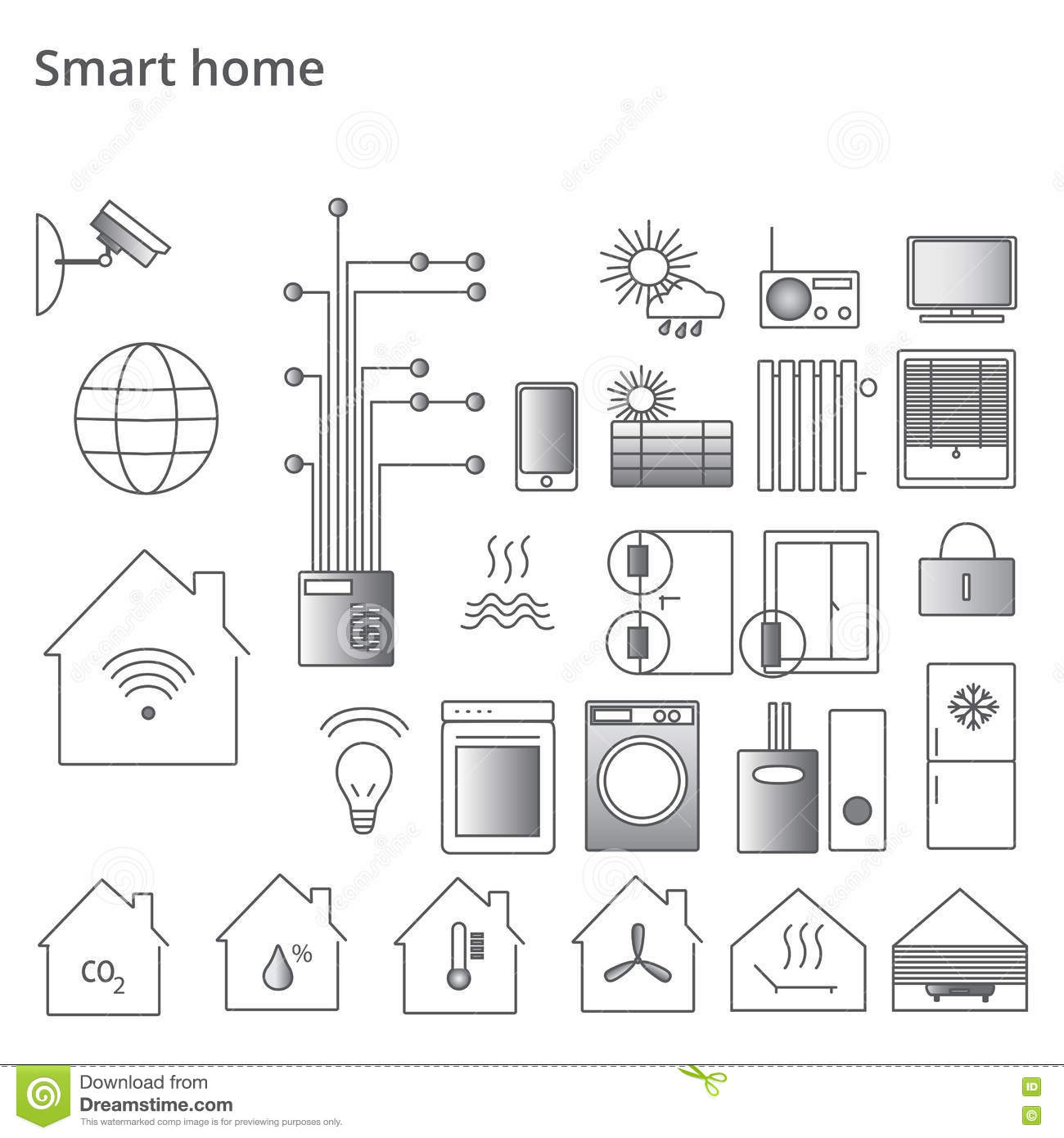 smart home security system black icons set vector illustration