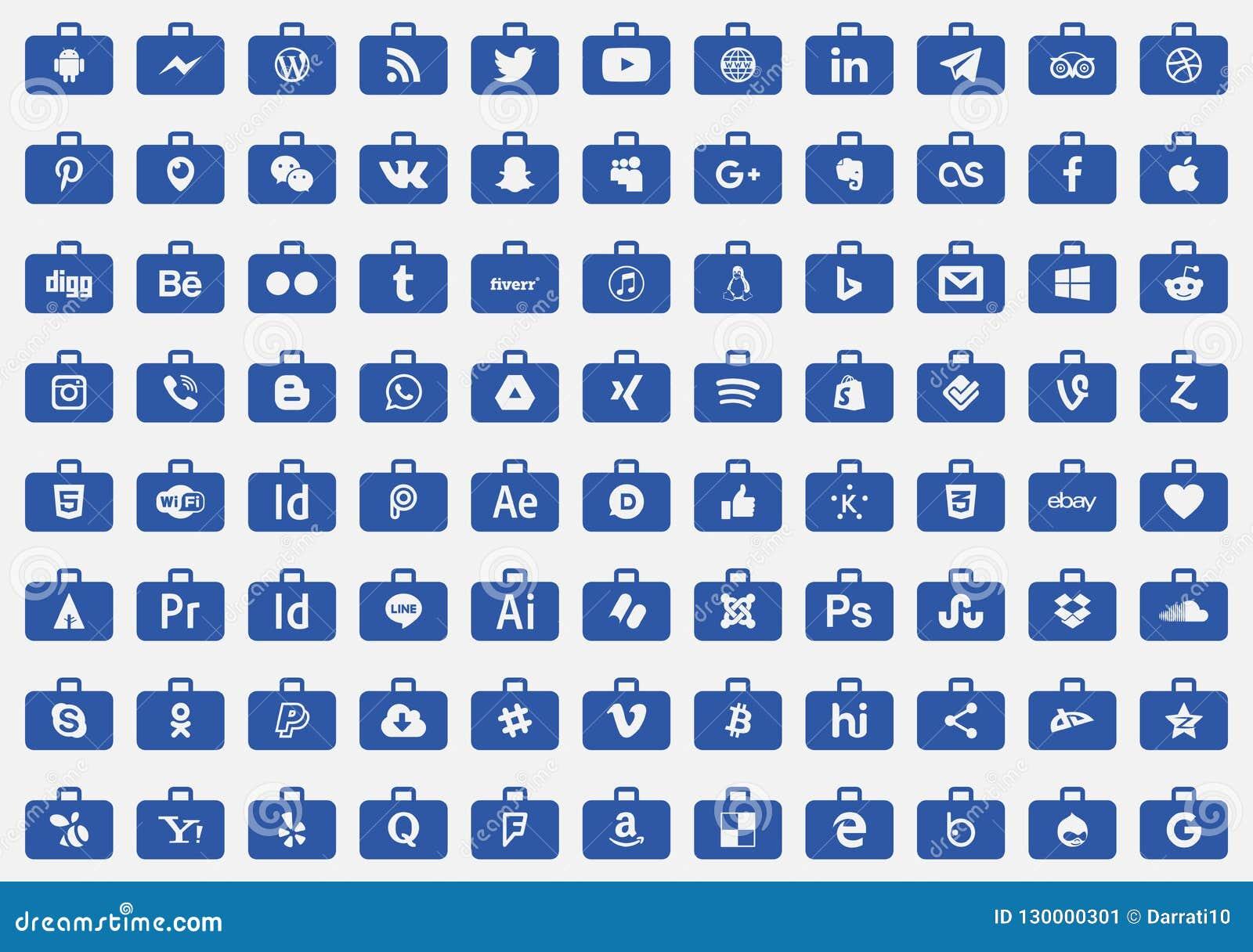 Icons Social Media Series Vector Editorial Photo