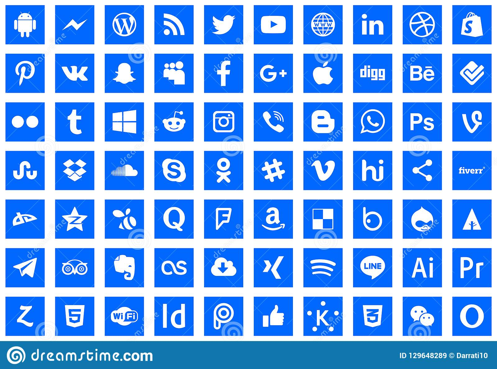 Icons Social Network Series Editorial Stock Image