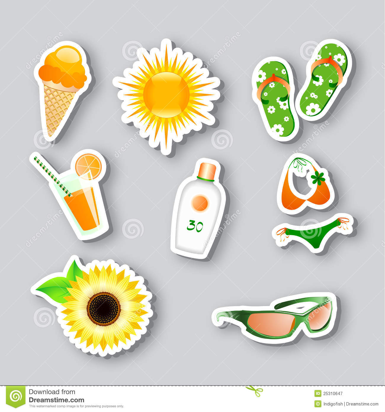 icons on the summer theme royalty free stock photography