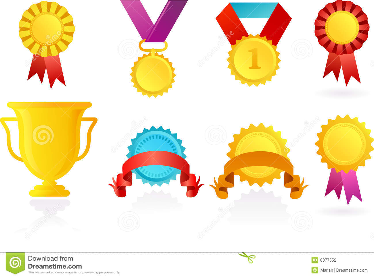Icons Of Trophy And Ribbons Stock Photography Image 8377552