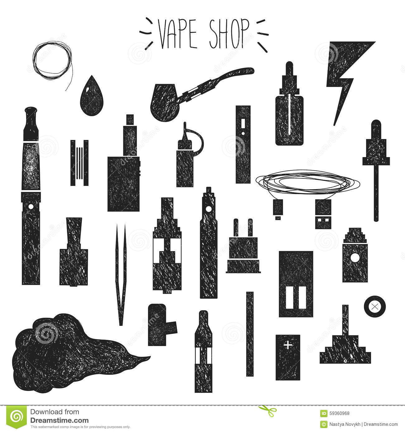 Icons Vape Hand Graphics Stock Vector Image 59360968