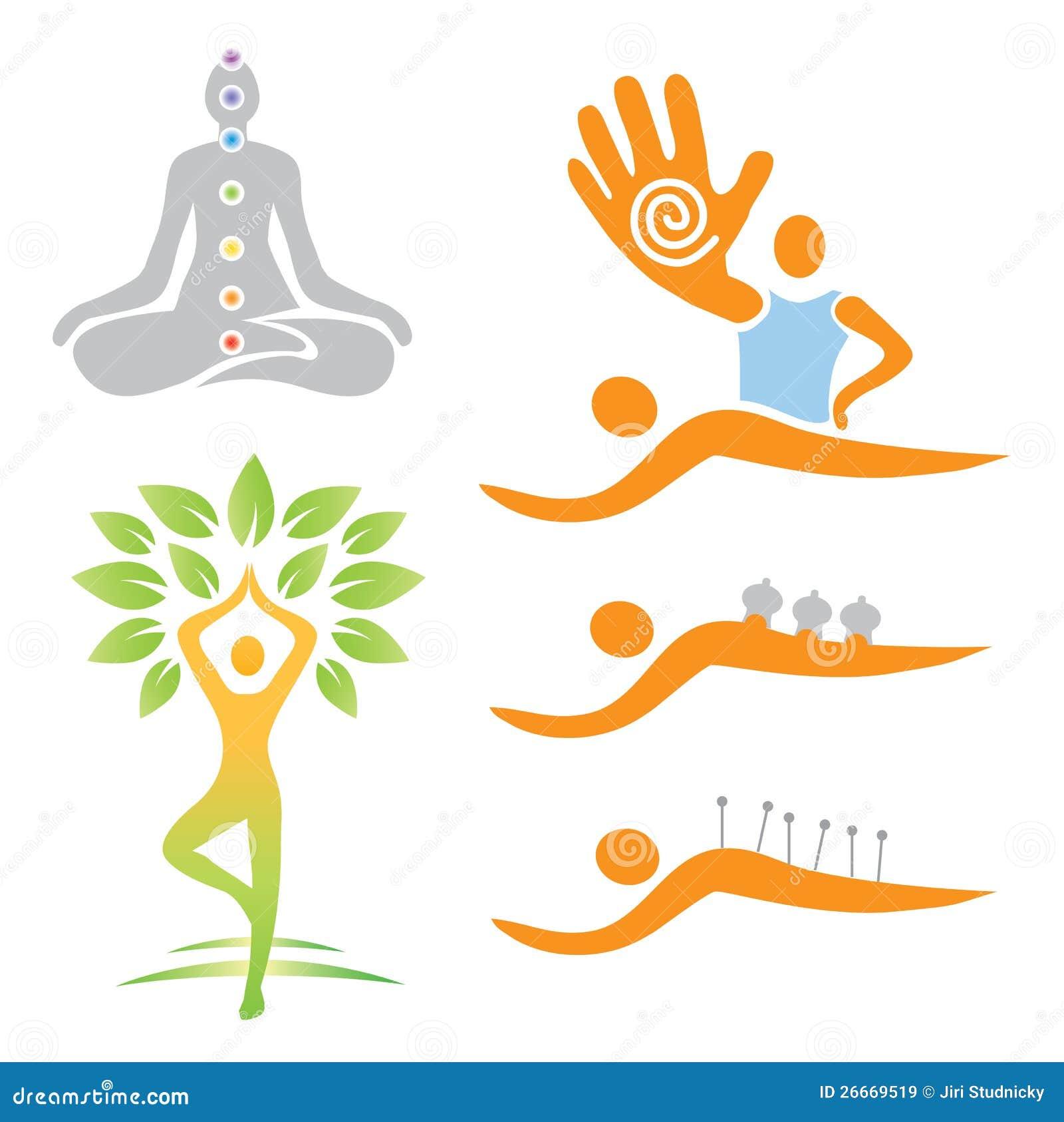 Royalty Free Stock Images: Icons yoga massage alternative medicine