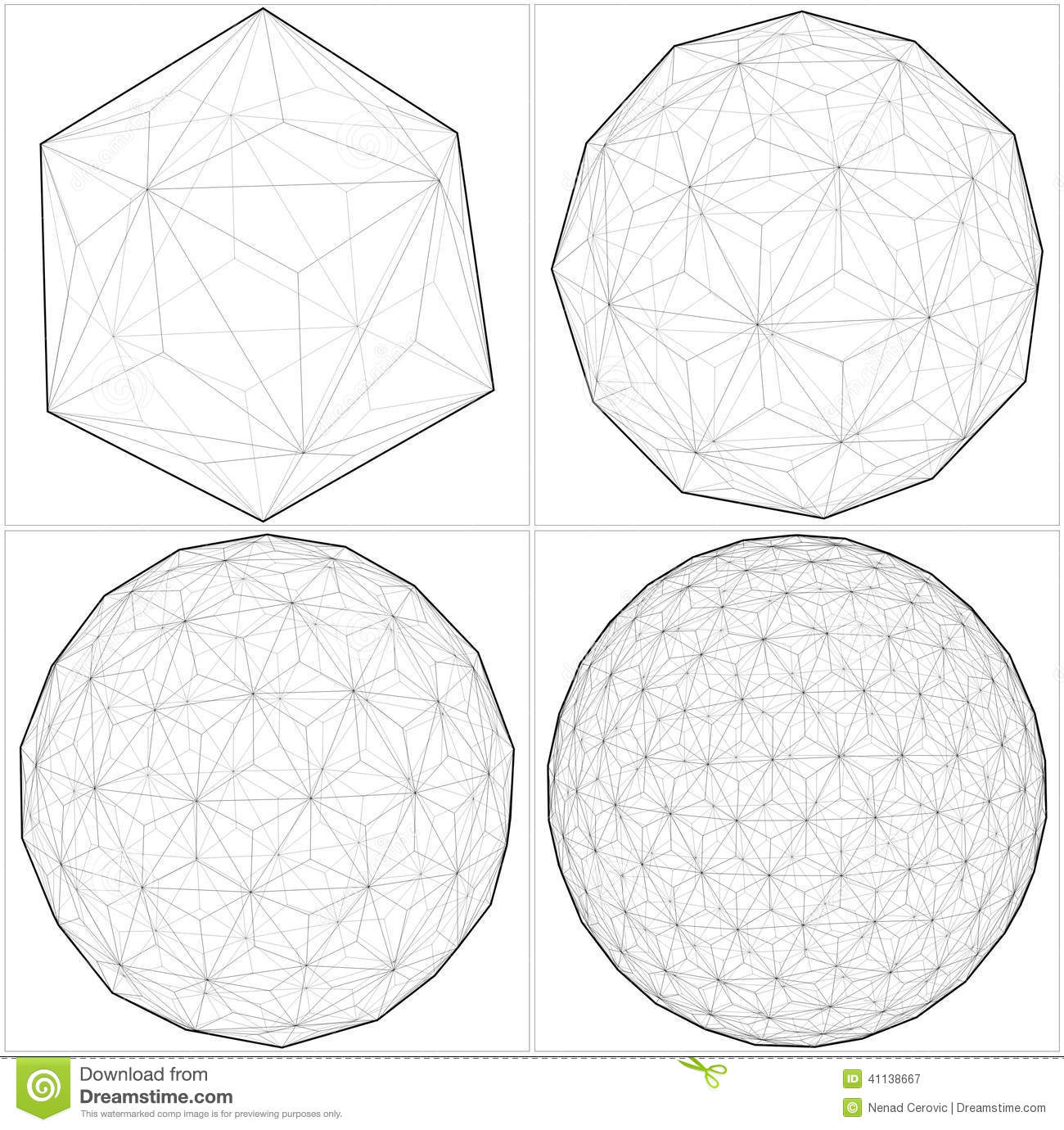 icosahedron to ball sphere lines vector illustration 41138667 crossing the wire 10 on crossing the wire