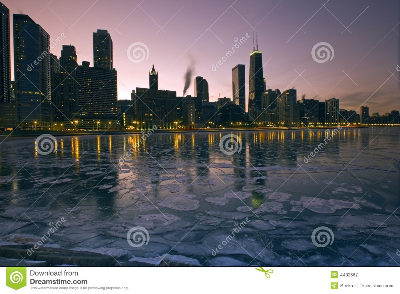 Download Icy Chicago stock image. Image of magnificent, dusk, hancock - 4483667