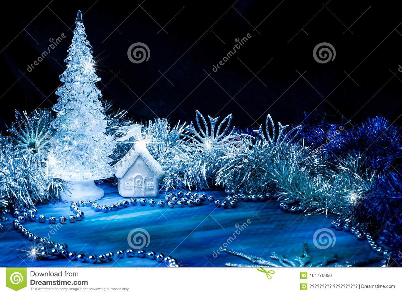 Icy Christmas Tree Glowing With Silver Light On A Blue Background Stock Photo Image Of Card December 104770050