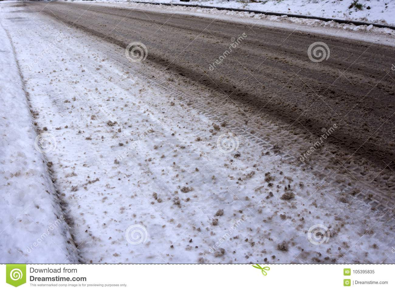 Download Icy Road In Winter Slush Dirt Stock Image - Image of background, blizzard: 105395835
