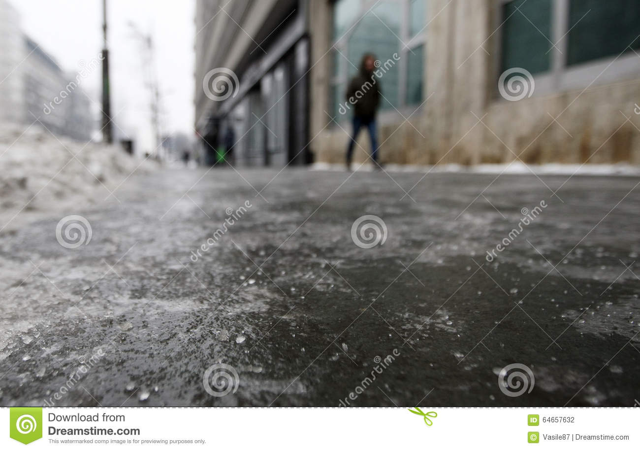 Icy sidewalk on a cold winter day