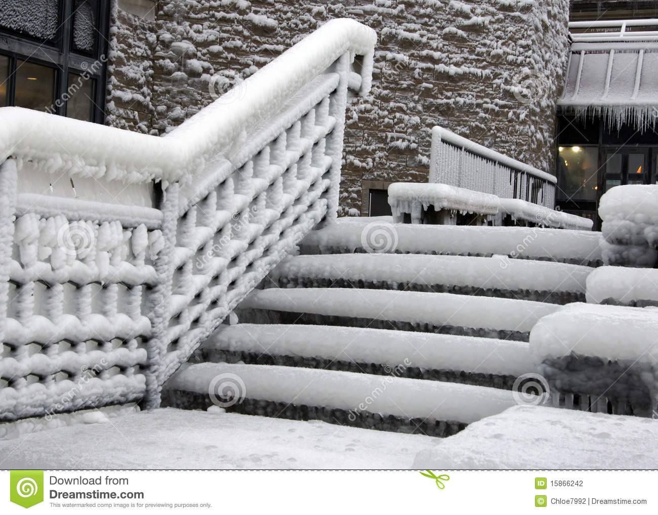 Icy Steps Stock Photo Image Of Exit Snow Handrail
