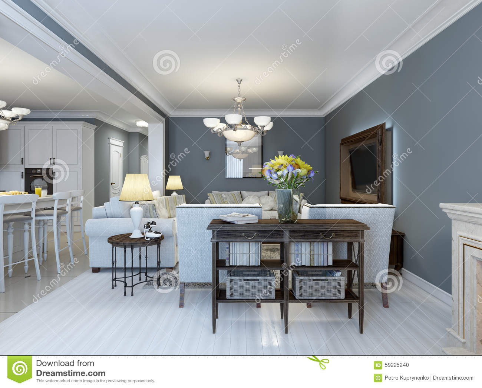 Idé av det provence sovrummet med vitt möblemang
