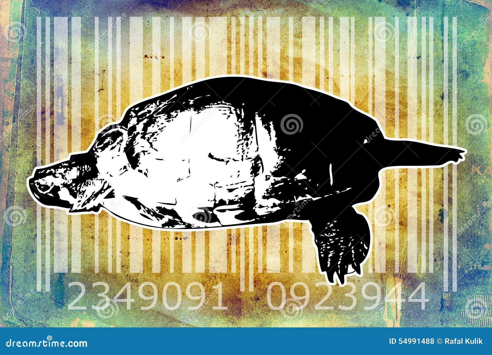 Idé för konst för design för sköldpaddabarcode djur