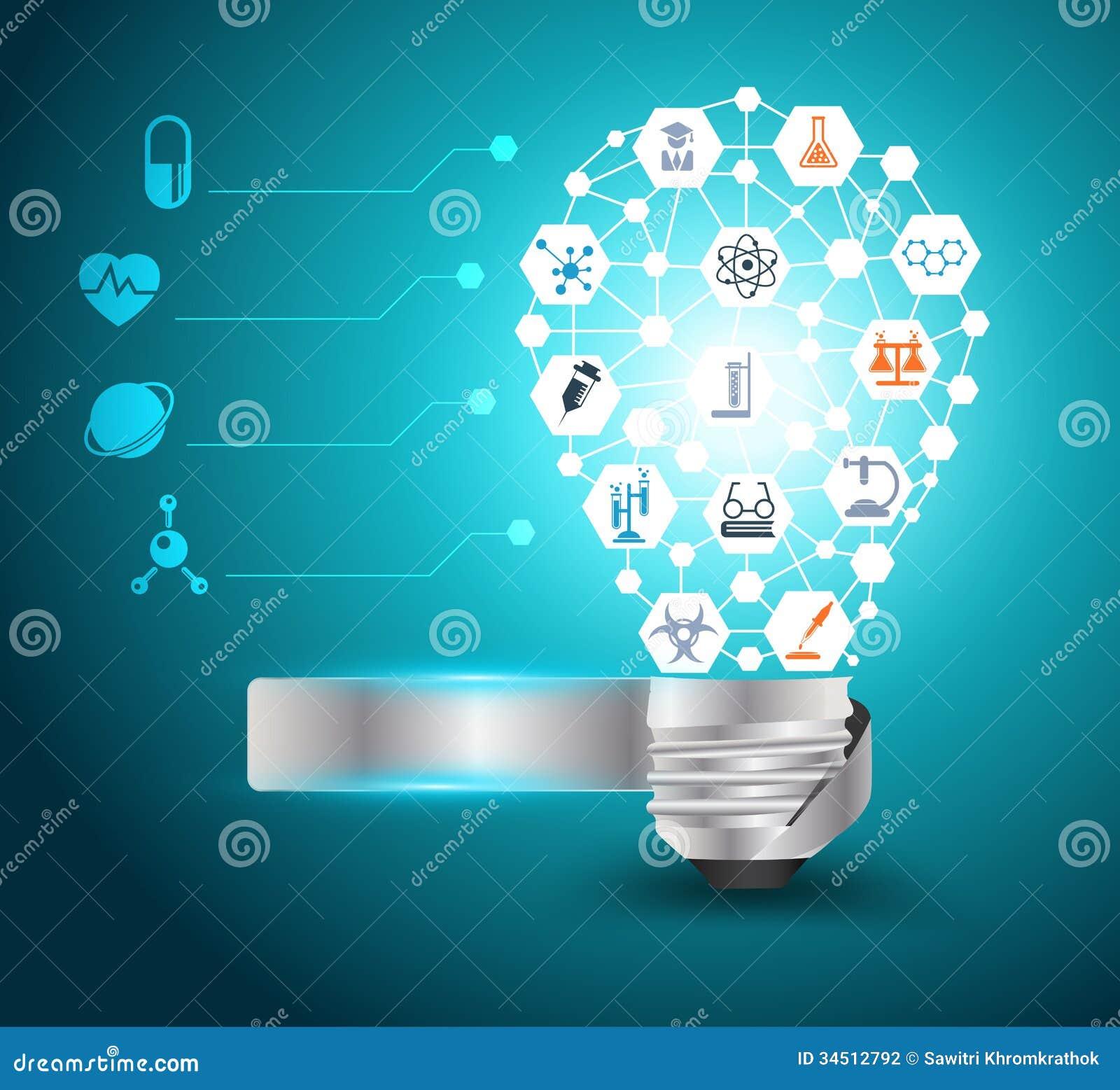 Idé för ljus kula för vektor med kemi och vetenskap