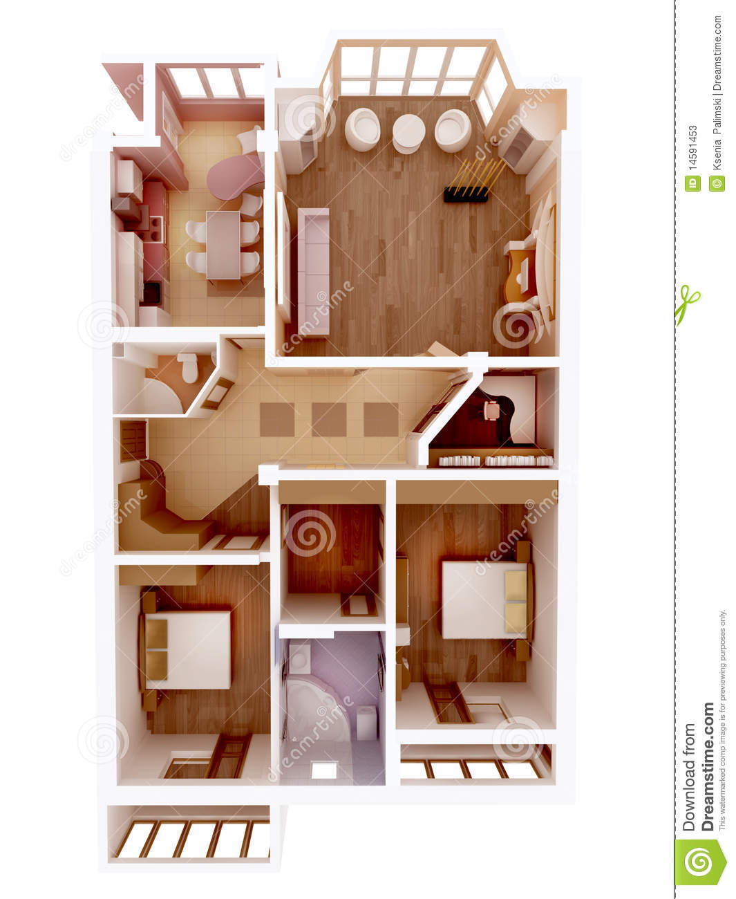 Id e claire d 39 int rieur de plan d 39 tage de l 39 appartement for Plan 3d chambre