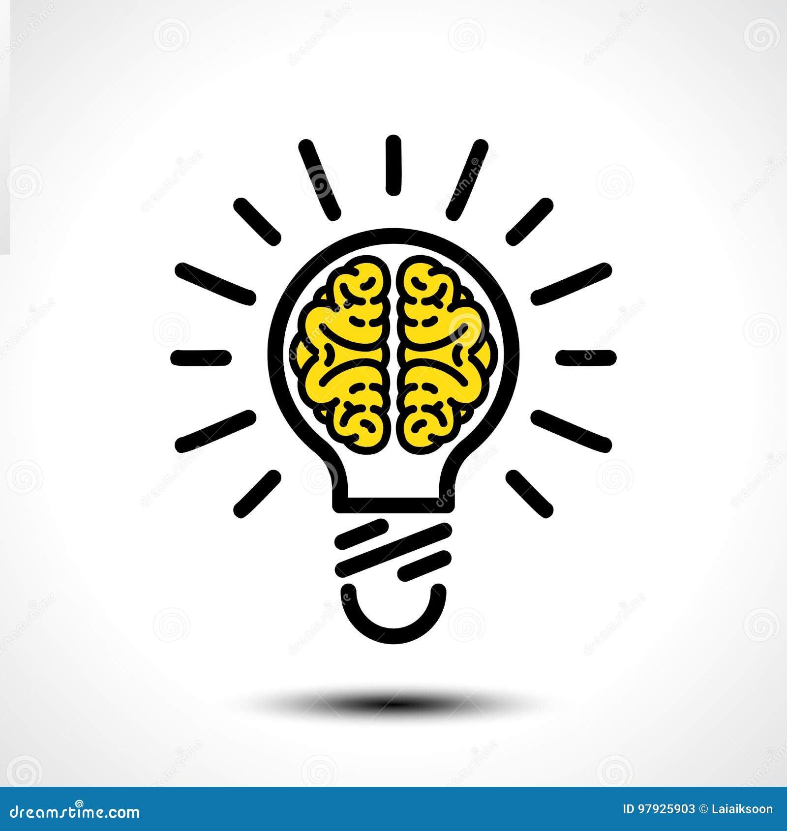 Idée d ampoule avec le calibre de logo de vecteur de cerveau Icône d entreprise telle que le logotype